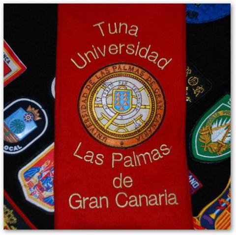 Detalle del escudo de la Universidad de Las Palmas de Gran Canaria en nuestra Beca.